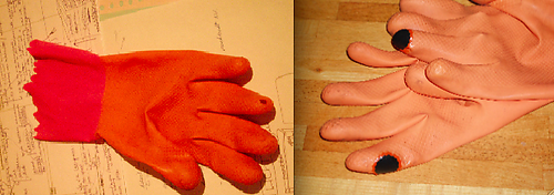 Repaired plastic gloves, Katelijn van der Heyden