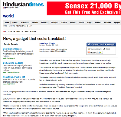 "<a href=""http://www.hindustantimes.com/Now-a-gadget-that-cooks-breakfast-automatically/H1-Article1-470117.aspx"">Hindustan Times India</a>"